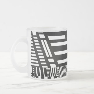Classic Black and White Stripe Frosted Glass Coffee Mug