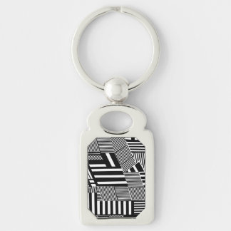 Classic Black and White Stripe Keychain