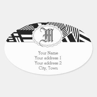 Classic Black and White Stripe Oval Sticker