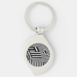 Classic Black and White Stripe Key Chain