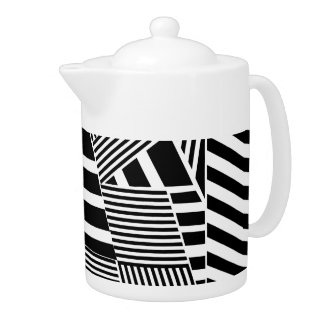 Classic Black and White Stripe Teapot
