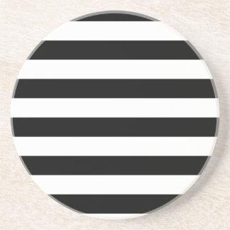 CLASSIC BLACK AND WHITE STRIPES COASTER