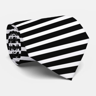 Classic Black And White Stripes Neck Tie