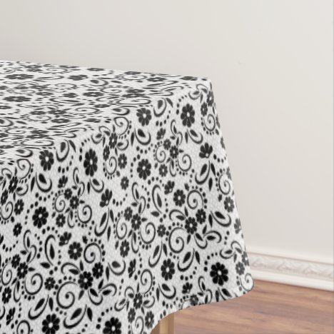 Classic black and white stylish floral tablecloth