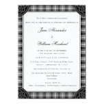Classic Black and White Tartan Plaid Wedding Invitation