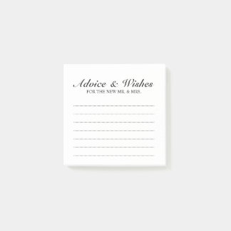 Classic Black and White Wedding Advice and Wishes Post-it Notes
