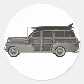 Classic Black and White Woody Classic Round Sticker