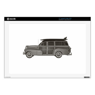 Classic Black and White Woody Laptop Skin