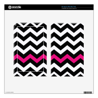 Classic Black and White Zigzag With Hot Pink Decal For Kindle Fire
