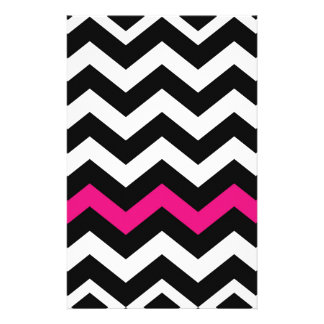 Classic Black and White Zigzag With Hot Pink Stationery
