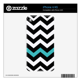 Classic Black and White Zigzag With Light Blue Decals For The iPhone 4S