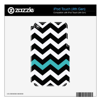 Classic Black and White Zigzag With Light Blue iPod Touch 4G Decals