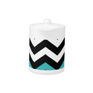 Classic Black and White Zigzag With Light Blue Teapot