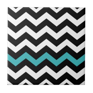 Classic Black and White Zigzag With Light Blue Tile