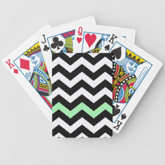 Classic Black and White Zigzag With Mint Green Bicycle Playing Cards