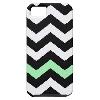 Classic Black and White Zigzag With Mint Green iPhone SE/5/5s Case