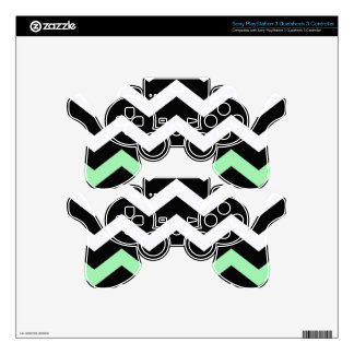 Classic Black and White Zigzag With Mint Green PS3 Controller Skin