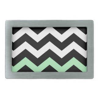 Classic Black and White Zigzag With Mint Green Rectangular Belt Buckle