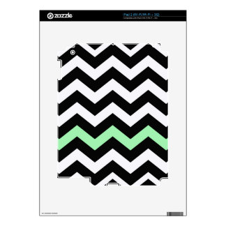 Classic Black and White Zigzag With Mint Green Skins For iPad 2
