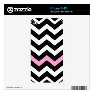 Classic Black and White Zigzag With Pink iPhone 4S Skins