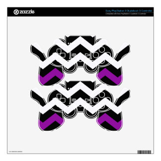Classic Black and White Zigzag With Purple PS3 Controller Skins