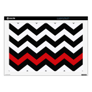 "Classic Black and White Zigzag With Red 17"" Laptop Skin"