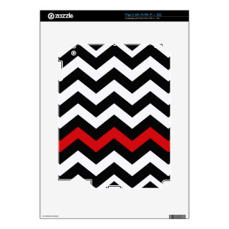Classic Black and White Zigzag With Red Decals For The iPad 2