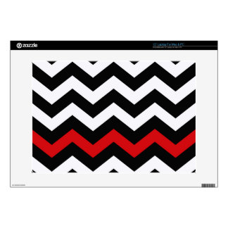 Classic Black and White Zigzag With Red Laptop Decals