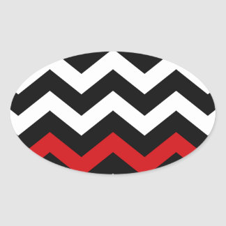 Classic Black and White Zigzag With Red Oval Sticker