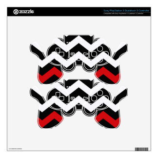Classic Black and White Zigzag With Red PS3 Controller Skin