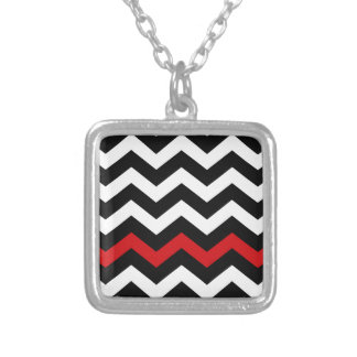 Classic Black and White Zigzag With Red Silver Plated Necklace