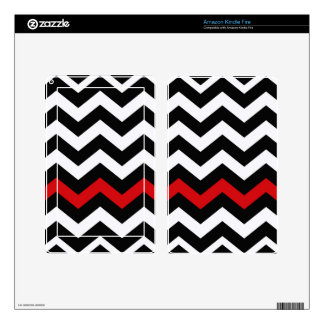 Classic Black and White Zigzag With Red Skins For Kindle Fire
