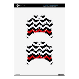 Classic Black and White Zigzag With Red Xbox 360 Controller Decal