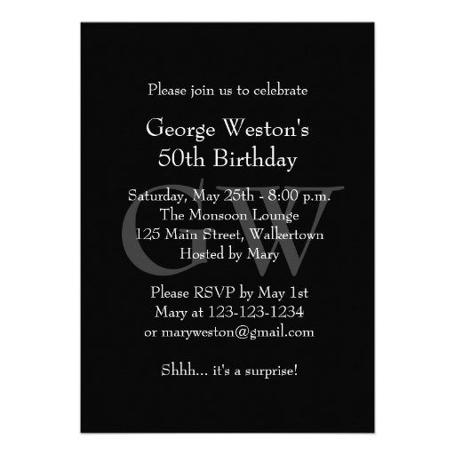 Classic Black Birthday Invitation