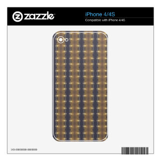 Classic Black Brown Gold Stripes and Squares Skin For The iPhone 4