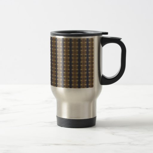 Classic Black Brown Gold Stripes and Squares Travel Mug