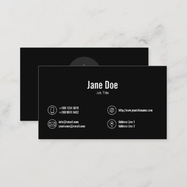 Classic Black Business Icons Logo Business Card