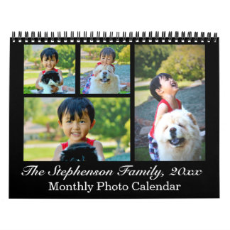 Classic Black Collage Custom Photo Monthly Calendar