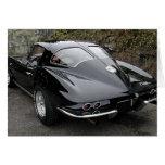 Classic Black Corvette Split Window Greeting Cards