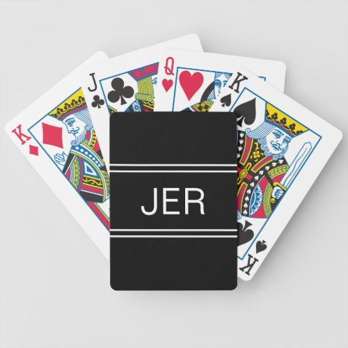 Classic Black Custom Personalized Monogram Initial Bicycle Playing Cards