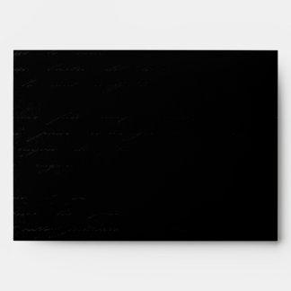 Classic Black Damask: Custom Linen Wedding A-7 Envelopes