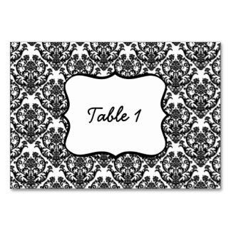 Classic Black Damask Pattern Table Card