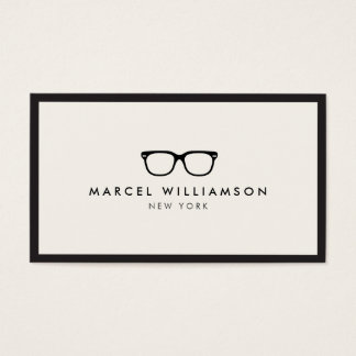 Classic Black Eyeglasses Logo Ivory Business Card