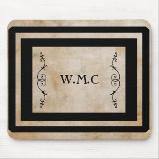 Classic Black Frame Monogram Mouse Pad