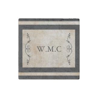 Classic Black Frame Monogram Stone Magnet