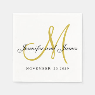 classic black gold monogram paper napkins