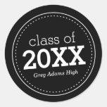 Classic Black Grad Stickers Round Sticker
