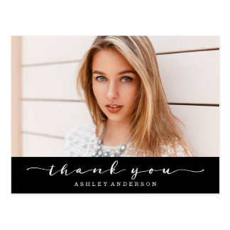 Classic Black Graduation Photo Thank You Postcard