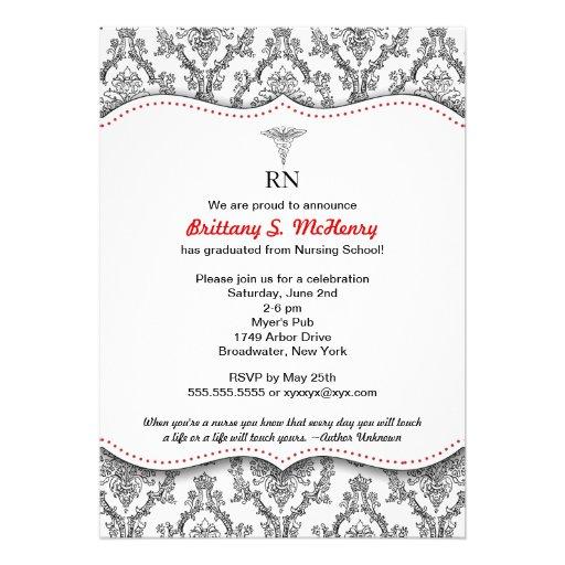 Classic Black & Green Nurse graduation pinning Invitation