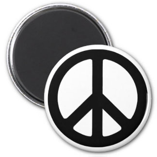 Classic Black Groovy Peace Symbol Magnet